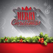 Vektör tatil illüstrasyon bir Noel Tema süsleri arka planda tipografik elemanları ile. — Stok Vektör