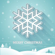 Vector Christmas illustration with 3d snowflake on blue background. — Vector de stock  #55068095