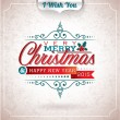Vector Christmas illustration with typographic design on grunge background. — Stock Vector #55068907