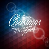 Vector Christmas illustration with typographic design on abstract geometric background — Stockvector