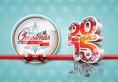 VectorVector Happy New Year 2015 red celebration background with ribbon. — Stockvektor