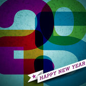 Vector Vector Happy New Year 2015 colorful celebration background with ribbon. — Cтоковый вектор