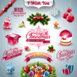 Vector Holiday collection for a Christmas theme with 3d elements on clear background. — Stock Vector #57984903