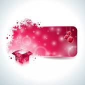 Vector Christmas design with magic gift box and red glass ball on clear background. — Wektor stockowy