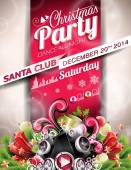 Vector Christmas Party design with holiday typographiy elements on red background. — Stockvektor