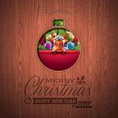 Engraved Merry Christmas and Happy New Year typographic design with holiday elements on wood texture background. — Stock Vector