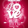 Vector Valentines Day illustration with Love typography design on shiny background. — Cтоковый вектор #59278911