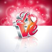 Vector Valentines Day illustration with 3d Love typography design on shiny background. — Vettoriale Stock