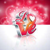 Vector Valentines Day illustration with 3d Love typography design on shiny background. — Vector de stock