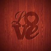 Vector Valentines Day illustration with engraved Love typography design on wood texture background. — Stockvektor