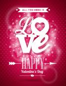 Vector Valentines Day illustration with Love typography design on shiny background. — Vector de stock