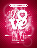 Vector Valentines Day illustration with Love typography design on shiny background. — Wektor stockowy