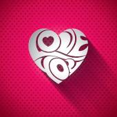 Vector Valentines Day illustration with 3d Love You typography design on heart background. — Stockvektor