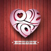 Vector Valentines Day illustration with 3d Love You typography design on wood texture background. — Vector de stock