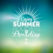 Vector illustration on a summer holiday theme on blurred background. — Stock Vector #72509955