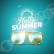 Vector illustration on a summer holiday theme with sunglasses on blue background. — Stock Vector #72821307