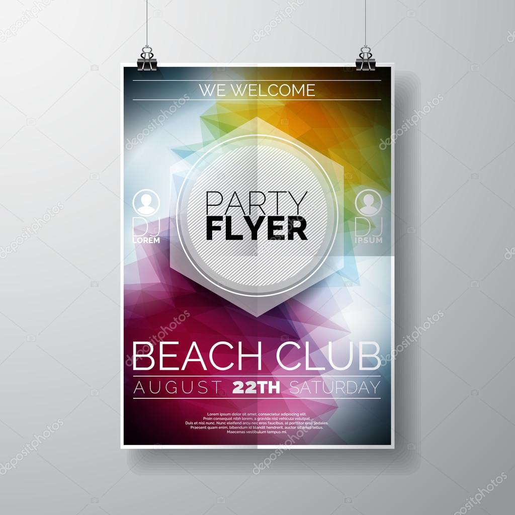 vector party flyer poster template on summer beach theme vector party flyer poster template on summer beach theme abstract shiny background stock