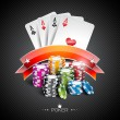 Vector illustration on a casino theme with color playing chips and poker cards on dark background. — Stock Vector #73259677