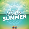 Vector illustration on a summer holiday theme on seascape background. — Stock Vector #74403311