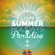 Vector illustration on a summer holiday theme on seascape background. — Stock Vector #74403495