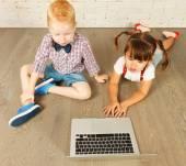 Preschoolers with laptop — Foto Stock