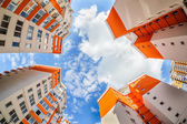 Fisheye shot of new resitential buildings — Stock Photo