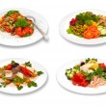 Set of salads on white background — Stock Photo #53676729