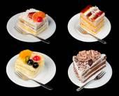 Cakes isolated on black — Stock Photo