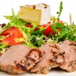 Veal meat with fresh vegetable salad — Stock Photo #56436365