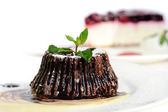 Chocolate fondant with peppermint leaves — Foto de Stock