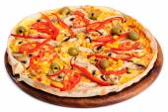 Pizza with Mozzarella, Mushrooms, Olives and Tomato Sauce — Stock Photo
