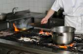Real dirty restaurant kitchen — Stock Photo