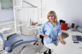 Dentist office interior with female doctor — Stock Photo