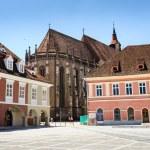 Black Church near the Council Square in Brasov, Romania — Stock Photo #78747682