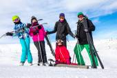 Family on the skiing — Stock Photo