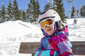 Girl with ski goggles and helmet — Stock Photo