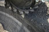 Large excavators in coal mine — Stock Photo