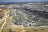 Large excavators in coal mine, aerial view — Stock Photo