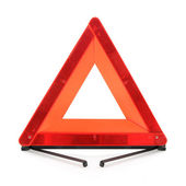 Red warning triangle — Stock Photo