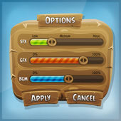 Cartoon Wood Control Panel For Ui Game — Stock Vector