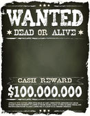Wanted Vintage Western Poster On Chalkboard — Stock Vector