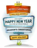 Merry Christmas And Happy New Year On Urban Signpost — Stock Vector