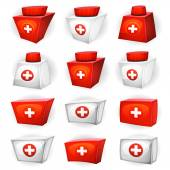 Medicine Box Icons For Ui Game — Stock Vector