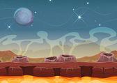 Fantasy Alien Planet Desert Landscape For Ui Game — Stock Vector