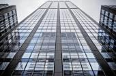 Looking up Manhattan Midtown skyscrapers, New York City — Stock Photo