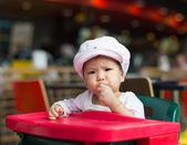 Baby girl have lunch — Stock Photo