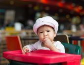 Baby girl have lunch — Photo
