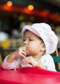 Baby girl have lunch — Foto Stock