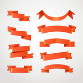 Different retro style red ribbons set isolated on white — Stock Vector