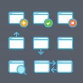 Different web browser icons set with rounded corners. Design ele — Vecteur